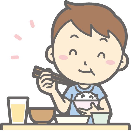 ゴハンを食べる画像