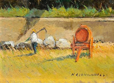 Nello Giovannelli - dipinto a olio su tavola