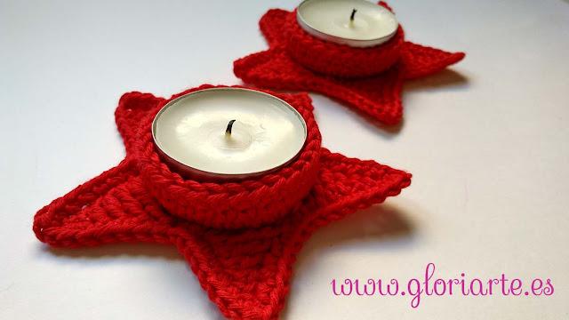 portavelas de crochet navideños