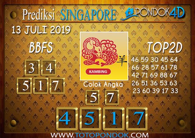 Prediksi Togel SINGAPORE PONDOK4D 13 JULI 2019