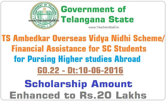 TS Ambedkar Overseas Vidya Nidhi scheme,Scholarship Amount,Rs.20 Lakhs