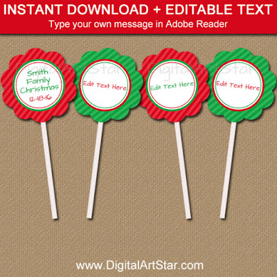 printable Christmas cupcake toppers in red and green
