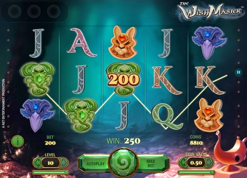 The Wish Master Video Slot Screen