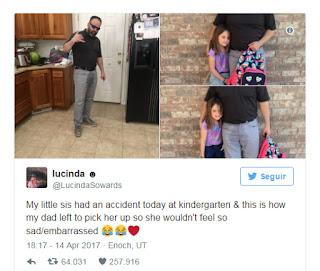 Una niña se orinó en clase y su papá eligió la mejor manera para consolarla