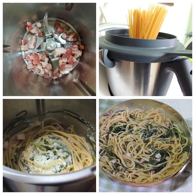 spaghetti pancetta e agretti bimby