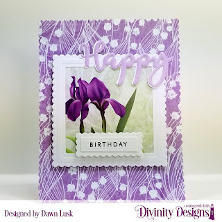 Divinity Designs Stamp/Die Duos: Happy, Paper Collection: Spring Flowers 2019, Custom Dies: Scalloped Rectangles, Scalloped Squares, Squares, Rectangles