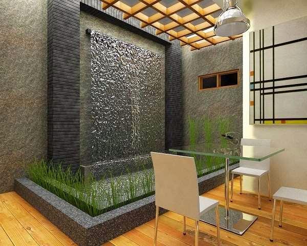 Contoh taman di dalam rumah dengan hiasan batu alam