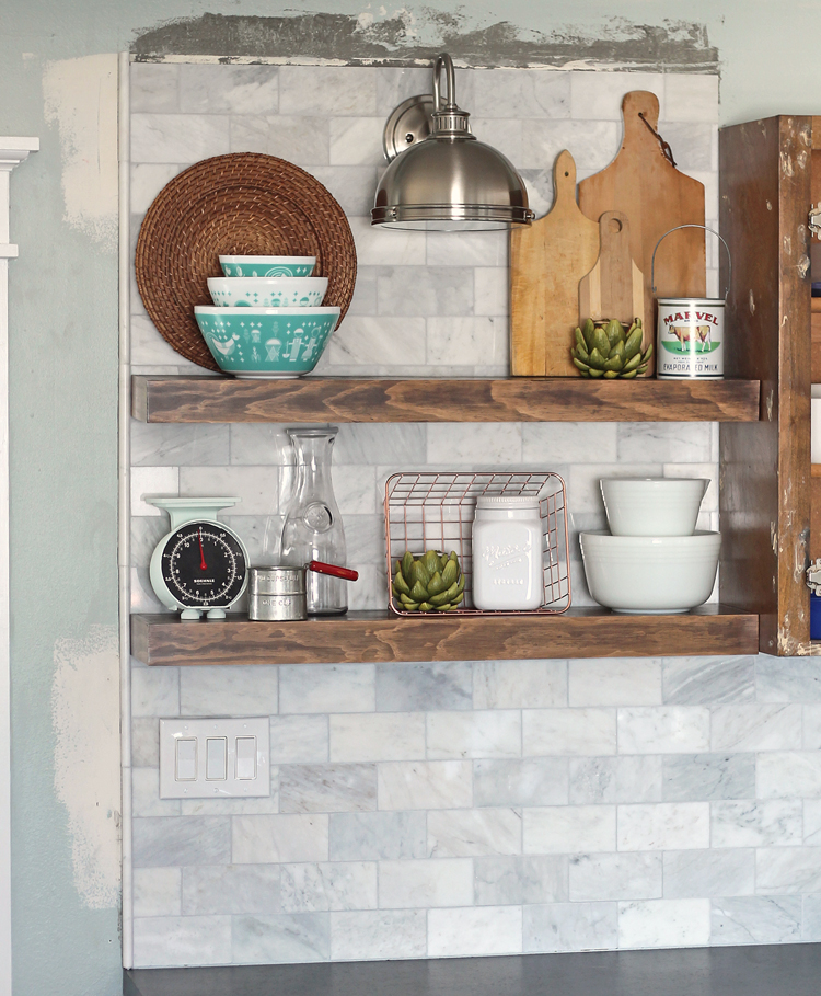 How to install shelves over tile