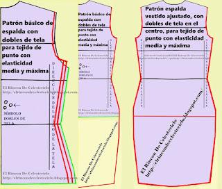 Transformación de espalda con dobles de tela en vestido para tejido de punto