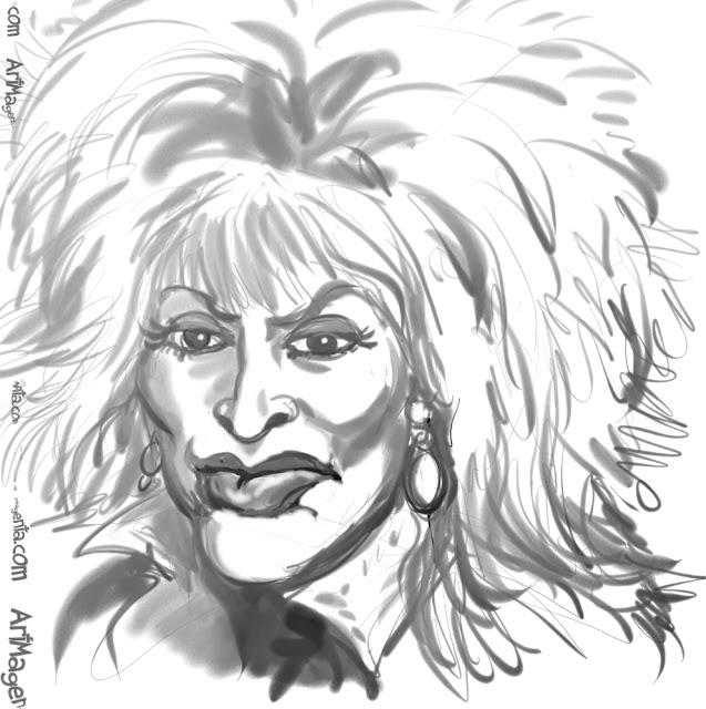 Tina Turner caricature cartoon. Portrait drawing by caricaturist Artmagenta