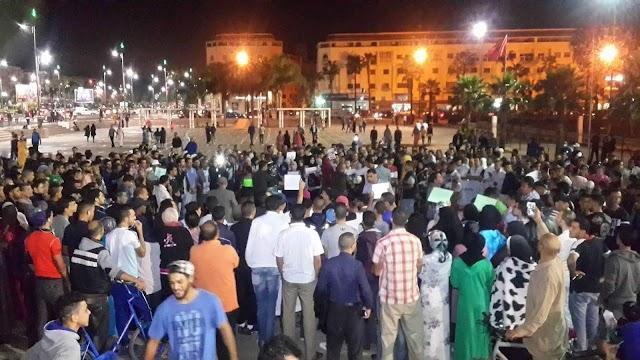 """الجماهير البرشيدية تخرج في مسيرة شعبية منددة بمقتل الشهيد """"محسن فكري"""""""