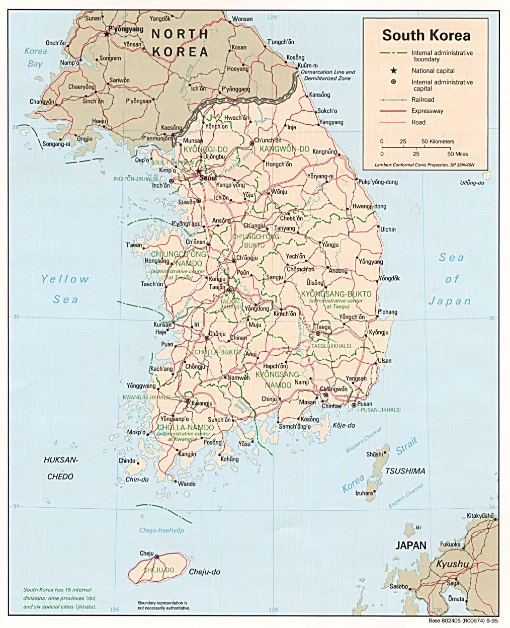 South Korea Map Political Regional