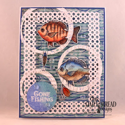Our Daily Bread Designs Stamp/Die Duos Great Catch, Paper Collection: By the Shore, Custom Dies: Pierced Circles, Circle Scalloped Rectangles
