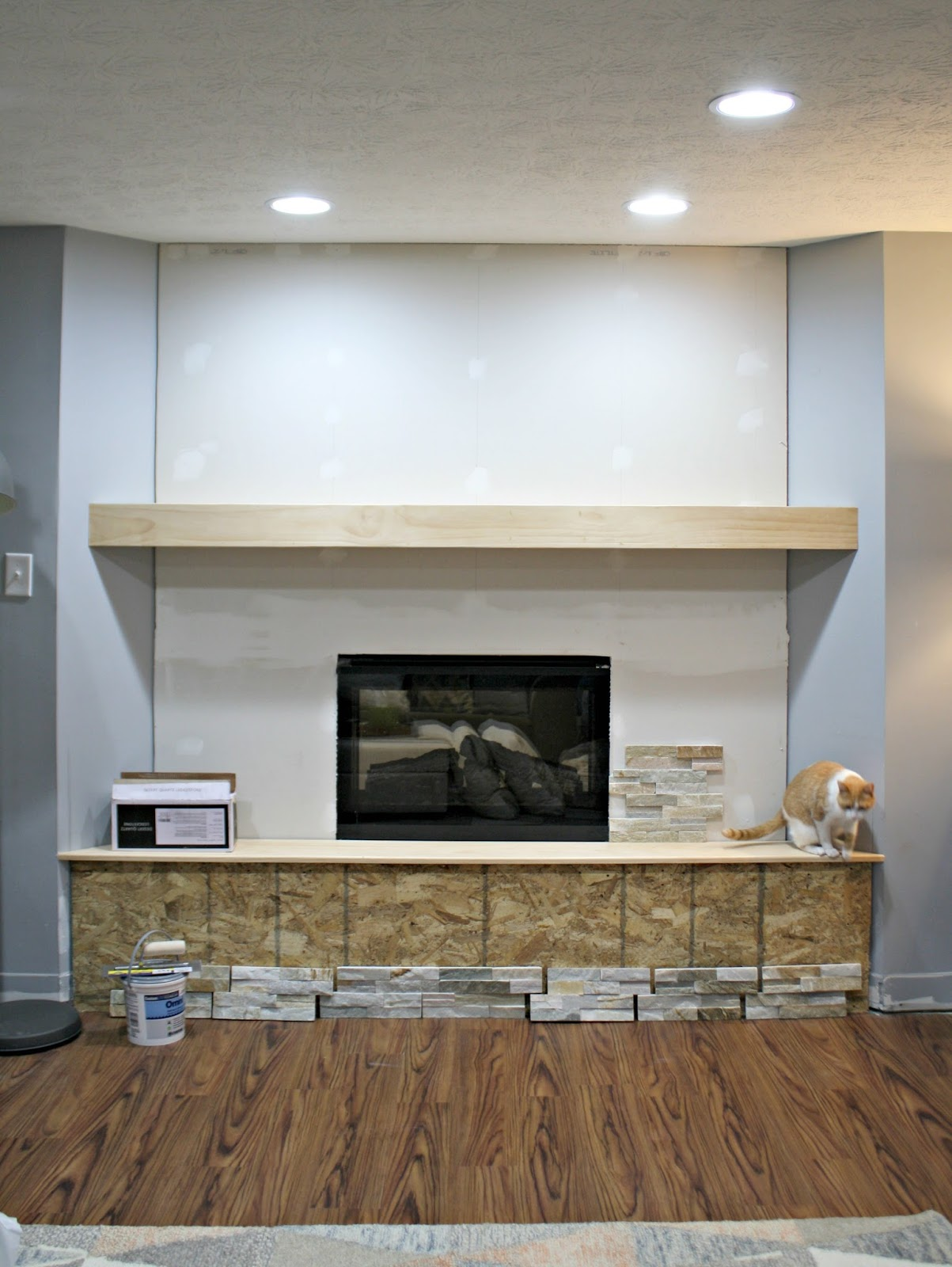 How To Install Stacked Stone Tile On A Fireplace Wall From Thrifty
