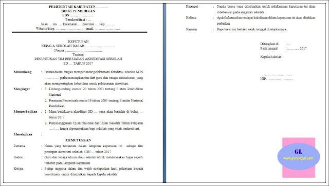 contoh sk penunjukan tim persiapan akreditasi sekolah dasar (SD)