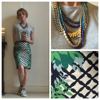 Warehouse T-Shirt, Boden Skirt and Stella & Dot Necklace