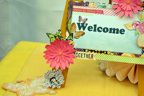 Party Decor Welcome Easel by Denise van Deventer using BoBunny Faith Collection and Pentart Lasur Gel