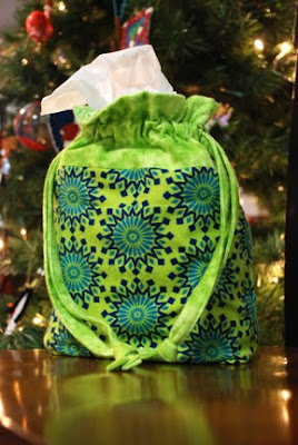 cloth sewn gift bags green