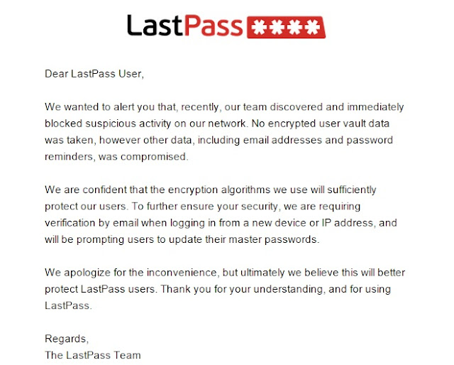 Notification from LastPass to its customers