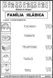 Famílias silábicas alfabetização letra T