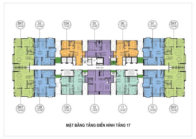 Mặt bằng thiết kế tầng 17 ONE 18 Ngọc Lâm