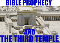 a graphic by Erika Grey of Bible Prophecy and the Third Temple with Bible Prophecy written in large blue caps on top of the graphic which is above a model of the recreated second Jewish Temple and on the lower half of the temple in capital letters it reads And Third Jewish Temple.