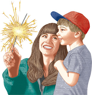 Clipart Image of a Small Boy and a Woman Playing With a Sparkler