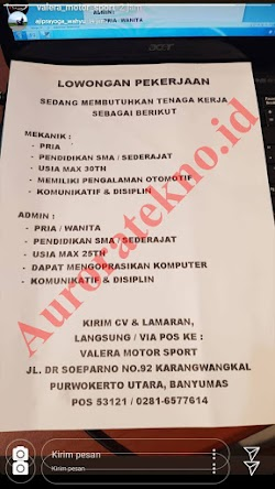 Info Loker terbaru Valera Motor Sport Purwokerto Juni 2019