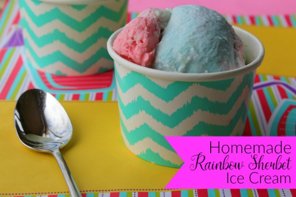 Homemade Rainbow Sherbet Ice Cream from My Mommy World