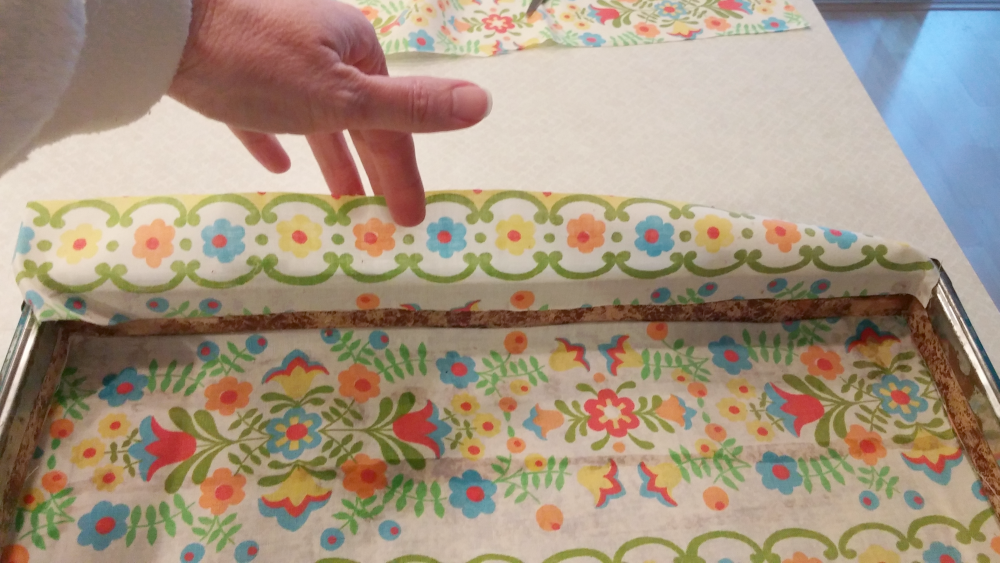 adding new lining to a vintage suitcase