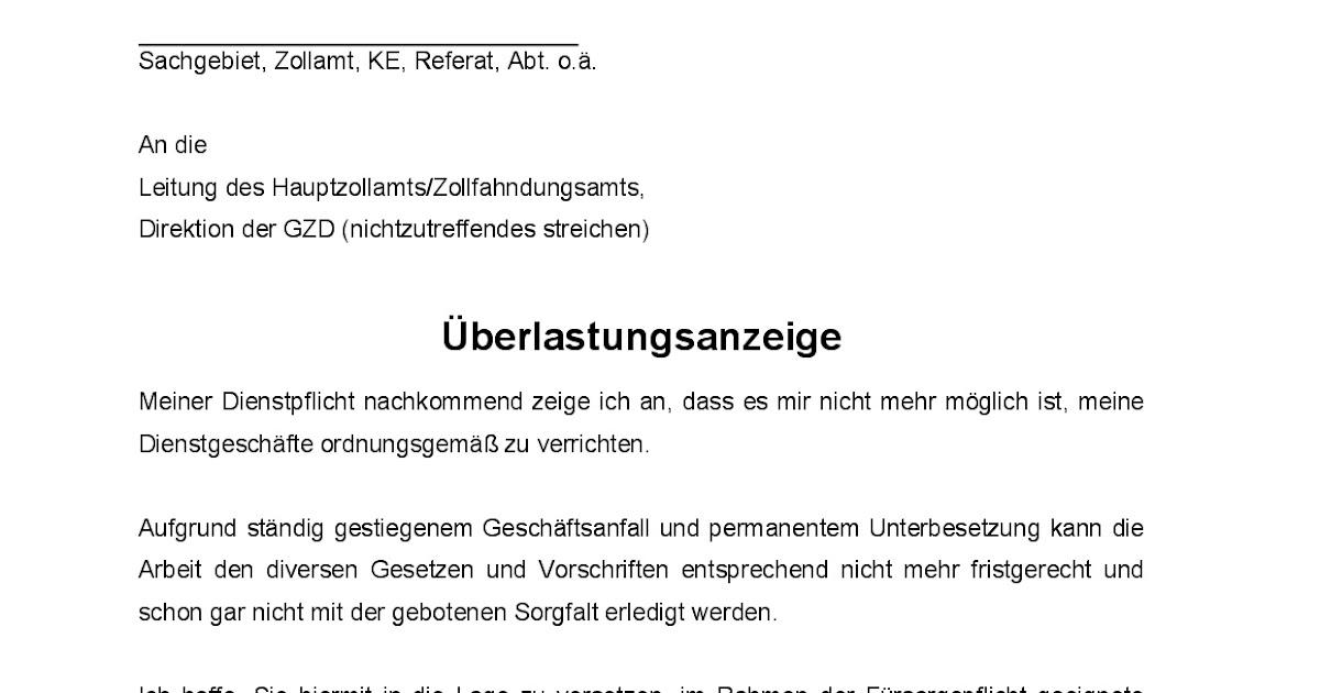 Bdz Deutsche Zoll Und Finanzgewerkschaft Ortsverband Bremen Bdz Uberlastungsanzeige 2 Muster