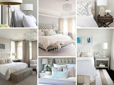 Sypialnia w stylu hamptons w kolorze beżu, niebieskiego, błękitu