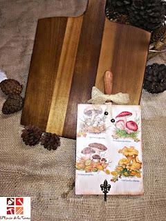 tabla de madera con decoupage