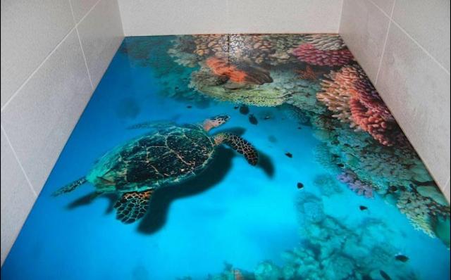 Coolest 3d flooring with underwater animals showing under water