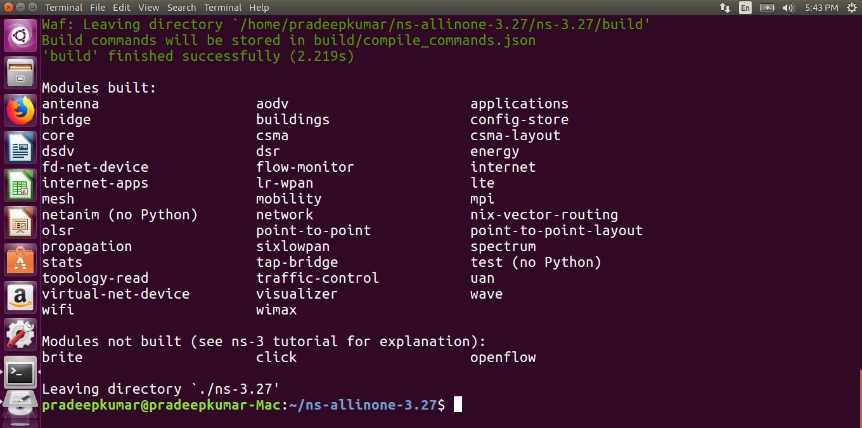 Network Simulators: ns3 installation in Ubuntu 16 04