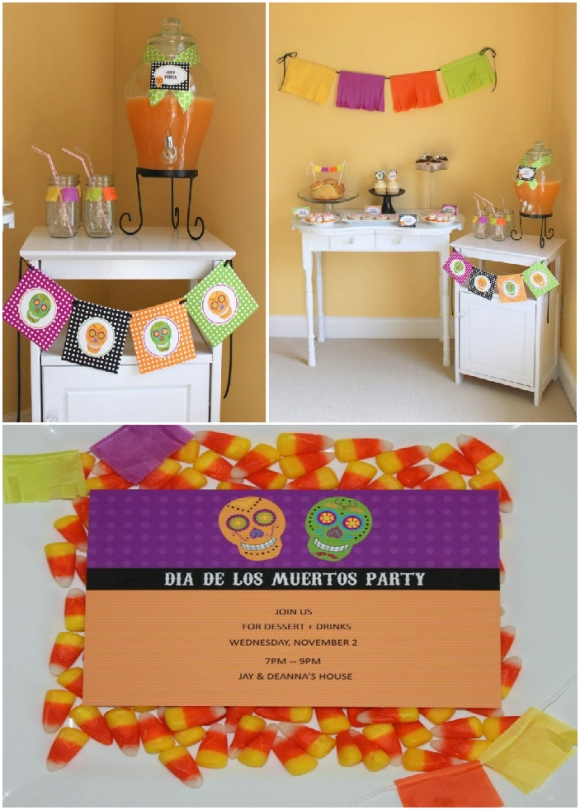 Whimsical Dia de Los Muertos Halloween Party - via BirdsParty.com