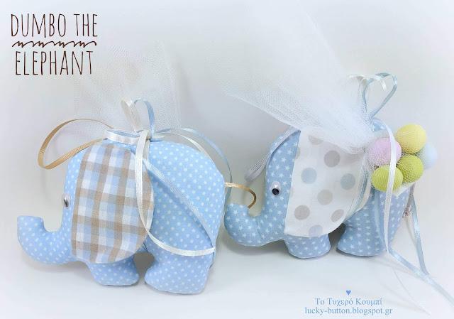 """""""Dumbo"""" το ελεφαντάκι σε σιέλ - μπεζ αποχρώσεις και πουά ντεσέν"""