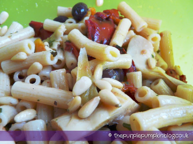 Antipasti Pasta Salad at The Purple Pumpkin Blog