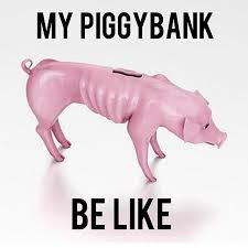 skinny, starving piggy bank