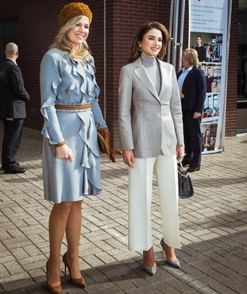 Queen Máxima wore Claes Iversen dress, Queen Rania wore Chloe suit. Queen Máxima and Queen Rania attended a lunch hosted by Prime Minister Mark Rutte