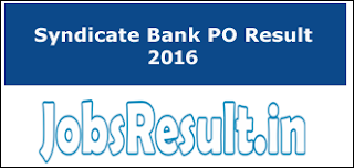 Syndicate Bank PO Result 2016