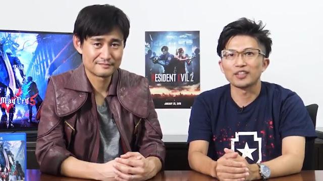 Yoshiaki Hirabayashi, produtor de Resident Evil 2, e Michiteru Okabe, produtor sênior de Devil May Cry 5 Brasil Game Sho 2018