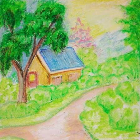 Menggambar Pemandangan Alam Dengan Cat Crayon