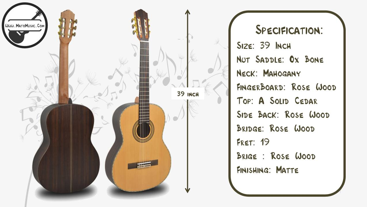 Yadars CG320 Classical Guitar With Solid Cedar Top Specification 01