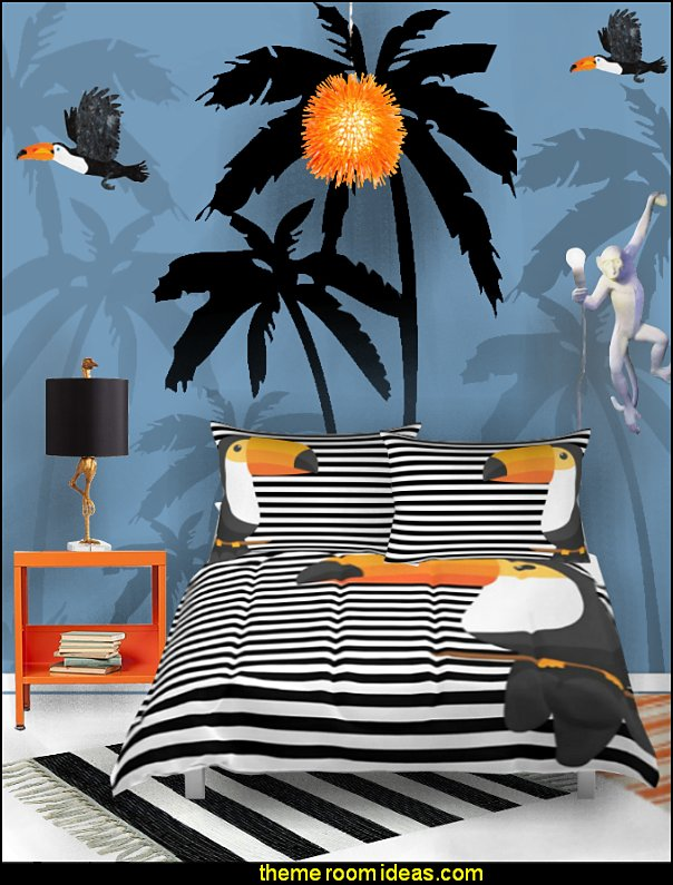 TOUCAN bedding - funky cool girls bedding - fashion bedding - girls bedding - teens bedding  - novelty bedding - duvet covers - comforter sets - lace bedding - floral bedding - solid color bedding - fuzzy furry bedding - ruffle bedding - novelty blankets - mermaid blankets - Pompom blanket - Chunky Knit Blankets STRIPES BEDDING tropical bedding