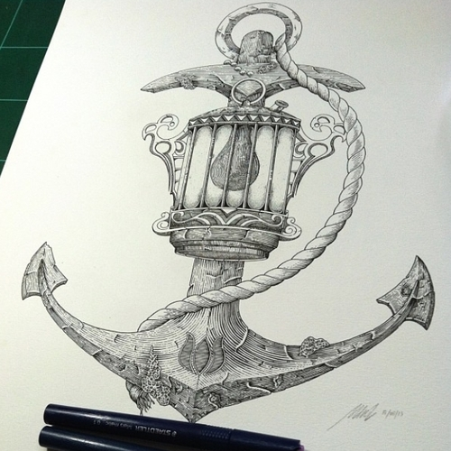 10-Anchor-Lamp-Muthahari-Insani-Beautifully-Detailed-Ink-Drawings-and-Doodles-www-designstack-co