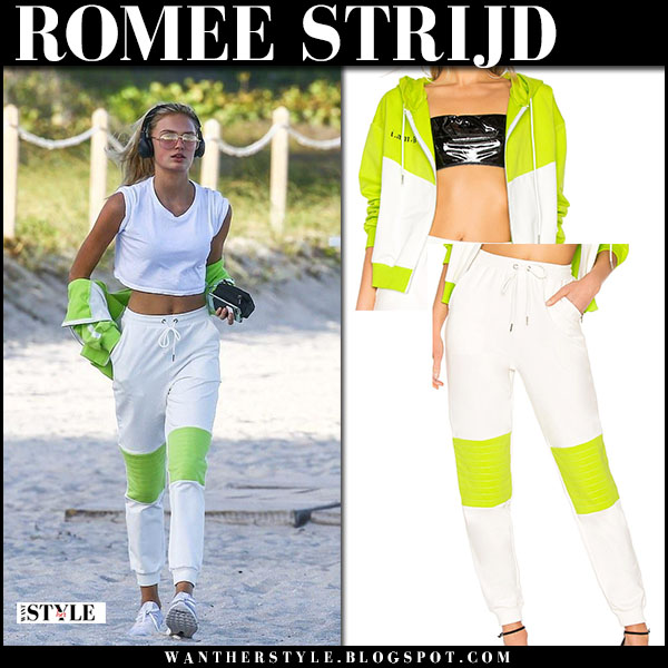 Romee Strijd in white crop top and white and green track pants i.am.gia workout fashion february 20
