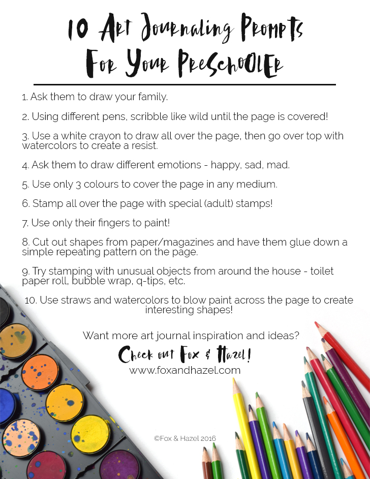 10 Art Journaling Prompts For Preschoolers