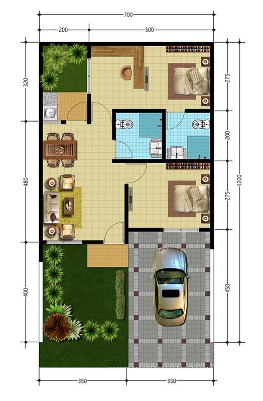 Lingkar Warna Denah Rumah Minimalis Ukuran 7x12 Meter 2 Kamar Tidur 1 Lantai Tampak Depan