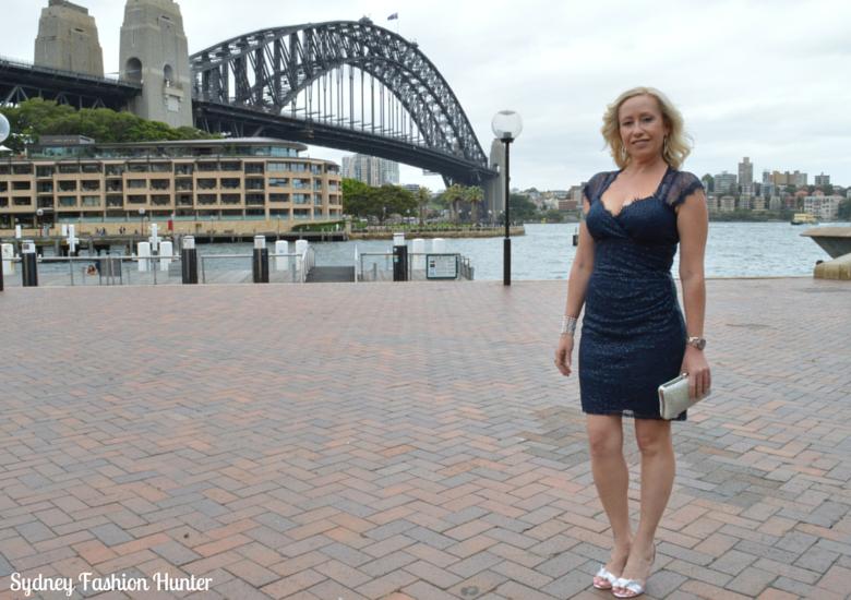 Sydney Harbour Bridge, Events navy sequin dress, Crystal Clutch, Nine West Sweeti Sandals